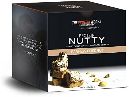 Protein Nutties / CASHEW COCONUT / von THE PROTEIN WORKS / 12er Box / Ultimativ-leckerer, energieliefernde Snack