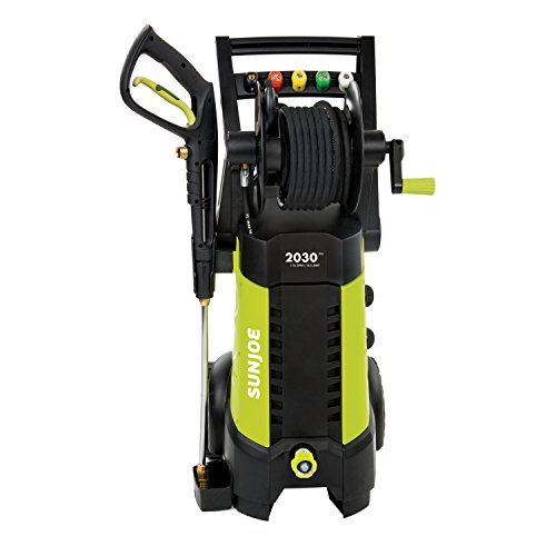 (Sun Joe SPX3001 2030 PSI 1.76 GPM 14.5 AMP Electric Pressure Washer with Hose Reel, Green)