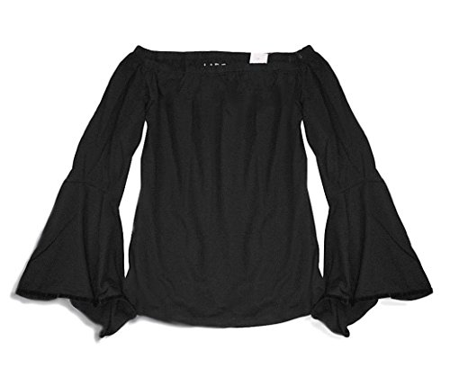 Ann Taylor LOFT - Women's Velvet Trim Bell Sleeve Shoulder Tee (Medium, Black) from Ann Taylor LOFT