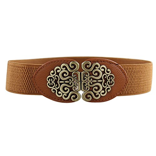 (WUAI Womens Vintage Waist Belt Elastic Stretch Retro Cinch Belt Waistband for Jeans Pants Dresses (Brown,Free size))