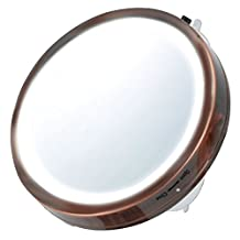 Ovente Battery Operated LED Lighted Compact Travel Mirror, 6 inch, Antique Copper