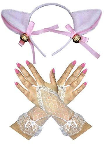 Pink/Weiss Lamm Cat Ohren Spitze Fingerleos Handschuhe Ostern ...