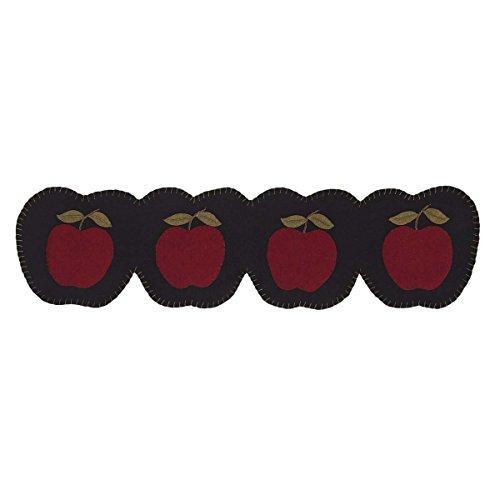 VHC Brands Harvest & Thanksgiving Holiday Tabletop & Kitchen - Apple Harvest Red Connecting Apple Shapes Felt Runner