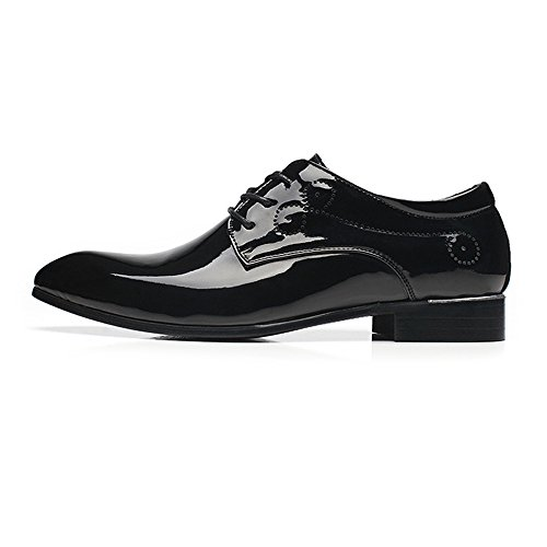 ished Smooth PU Leather Shoes Classic Lace up Business Tuxedo Oxfords (Color : Black, Size : 8.5MUS) ()
