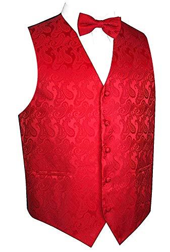 Brand Q Men's Paisley Vest Bow-Tie Set-Red M
