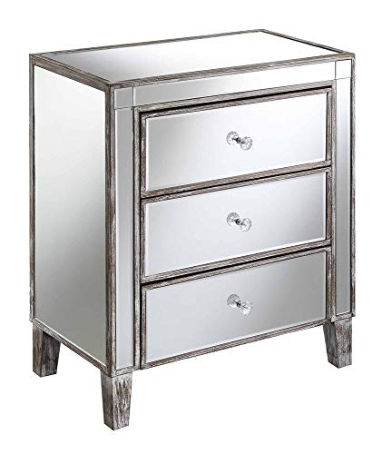 Convenience Concepts Gold Coast 3 Drawer Mirrored End Table, Weathered Gray