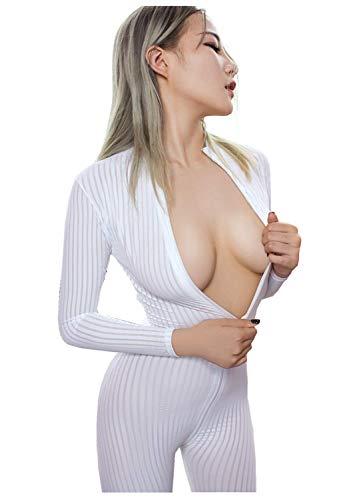 XINXINYU Women's Sexy Front Zipper Stripe Bodysuit Outfit Lingerie Set (White-1)