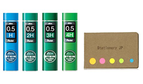 4 H Pencils (Pentel Ain Mechanical Pencil Leads 0.5mm, H, 2H, 3H, 4H, 4 Pack/total 160 Leads, Sticky Notes Value Set)