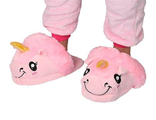 LATH.PIN Einhorn Hausschuhe Unisex Pantoffeln Winter Plüsch Kostüm Cartoon Hause Schuhe Erwachsene Größe: 35-41 Pink