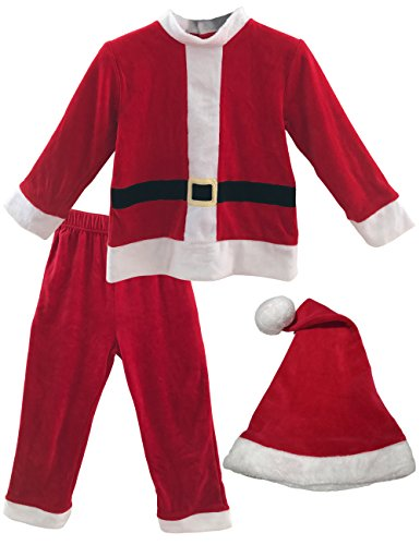 Felove Christmas Outfit Gift Little Boy's 3-Pc Santa Claus Costumes sets (5-6 Years) ()