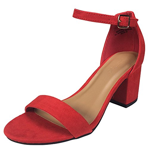 BAMBOO Women's Block Heel Sandal with Ankle Strap, Red Faux Suede, 5.5 B US ()