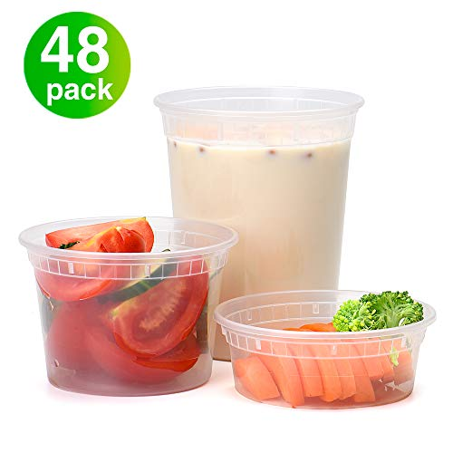 Glotoch Plastic Food Storage Containers with lids 8oz,16oz,32oz Freezer Deli Containers Combo Pack-Leak proof.Great for Slime,Soup,Meal prep etc.BPA-Free(48Packs-Mixed sizes)