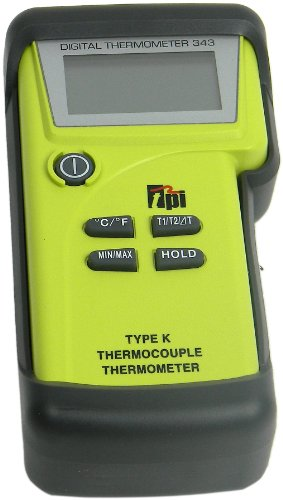 TPI 343/C1 Water Resistant, Dual-input, K-Type Thermocouple Thermometer with Tilt Stand Boot, Soft Pouch, and Temperature Probes with Sub-mini Connection, -50 to 1350 Degrees C, -58 to 2462 Degrees F, - Stand Kiln