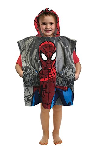 Marvel Spiderman Woosh & Thwip Official 'Pocket Frenz' Cotton Bath/Beach Hooded Towel (A Friend In Every - Years Man Through Iron The