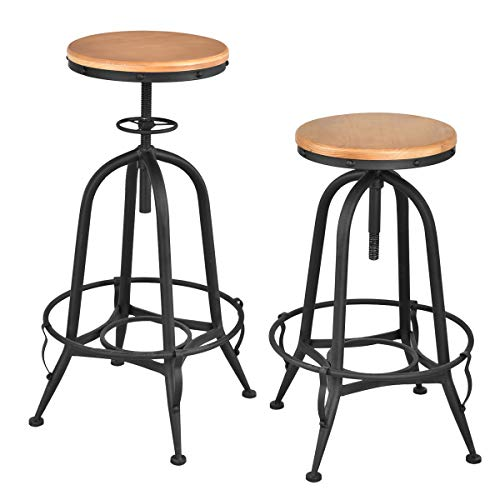 COSTWAY Vintage Bar Stool Metal Frame Wood Top Adjustable Height Swivel Industrial 2Bar Stools