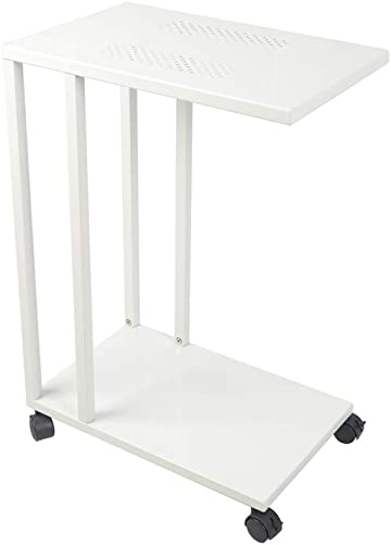 C Shaped Side End Table,Mobile Sofa/Living Room Small Side Table,with Lockable Wheels,Mobile Snack Table