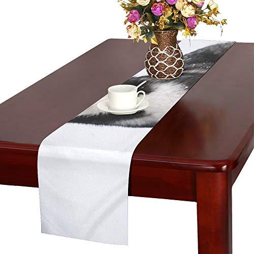 AIKENING Portrait Black White Siberian Husky Standing Table Runner, Kitchen Dining Table Runner 16 X 72 Inch for Dinner Parties, Events, Decor