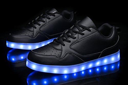 Mohem Shinynight Hoge Led Schoenen Oplichten Usb Opladen Knipperende Sneakers All-black009