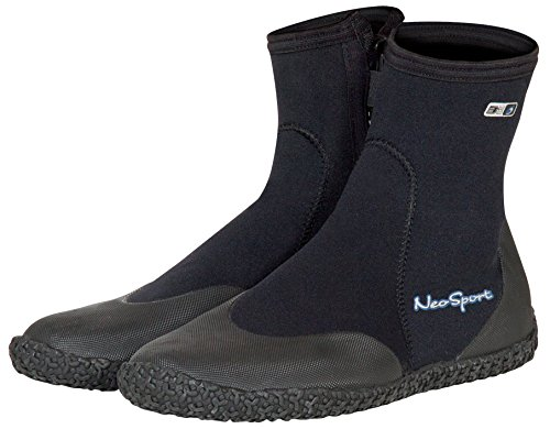 NeoSport Wetsuits Premium Neoprene 3mm Hi Top Zipper Boot, Black, 10 - Water Shoes, Surfing & Diving