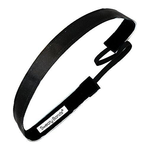 Sweaty Bands Womens Girls Headband - Non-Slip Velvet-Lined Fashion Hairband - Wicked Exclusive Black 5/8-Inch