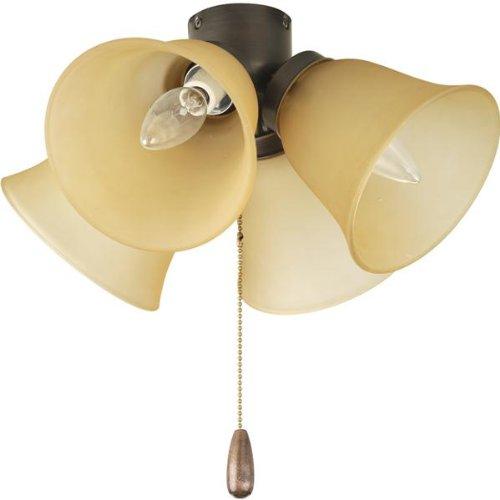 Airpro 4 Light - Progress P2643-20T Airpro - Four Light Universal Fan Kit, Antique Bronze Finish with Alabaster Glass