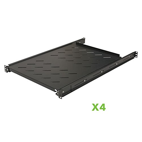 "Price comparison product image NavePoint Sliding Rack Vented Server Shelf 1U 19"" 4 Post Rack Mount 29.50"" (750mm) Deep Set of 4 Black"