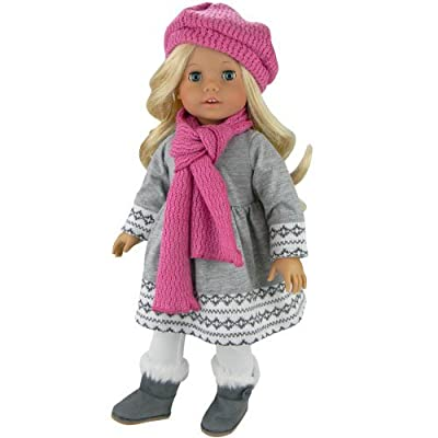 Doll Clothes 4 Pc. Outfit fit for 18 Inch American Girl Dolls & More! Grey Fair Isle Style Doll Sweater Dress, Leggings, Scarf & Doll Pink Hat