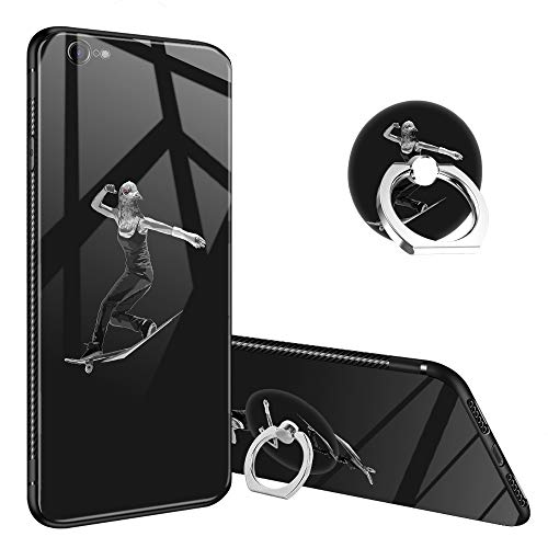 iPhone 6s Case,Bird Brain I iPhone 6 Tempered Glass Back Cases with Finger Ring Stand for Girl/Boys, 360°Rotatable Ring Holder Kickstand Fashoin Soft TPU Bumper Frame Case for iPhone - Glass Bird Brain Giant