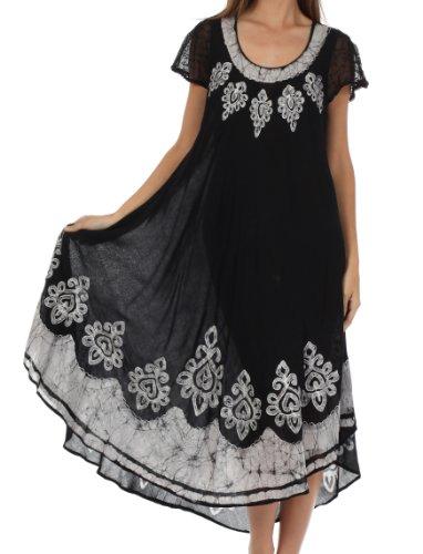 Sakkas Batik Hindi Cap Sleeve Caftan Dress/Cover Up