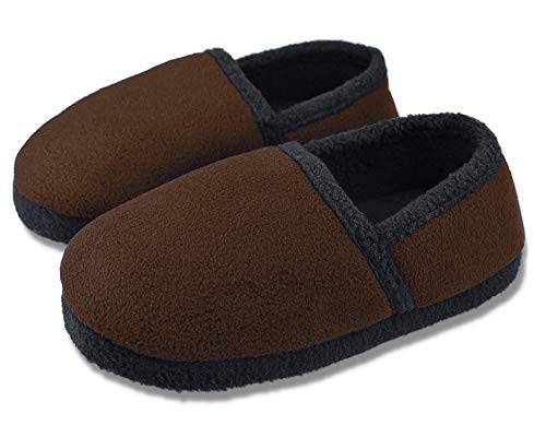 (Tirzrro Big Boys' Winter Warm Slippers with Memory Foam Indoor Outdoor Slip-on Shoes Size 6-7 US Brown)