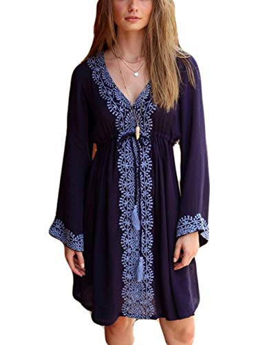 (Bsubseach Women V Neck Navy Embroidery Short Tunic Beach Dress High Waist Swimsuit Cover Up with Drawstring)