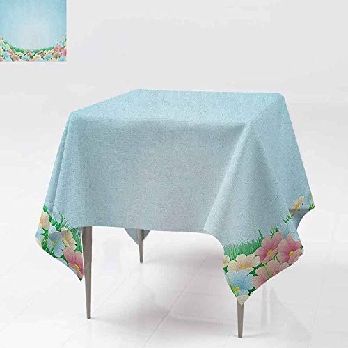 AndyTours Square Table Cloth,Garden,Curvy Fresh Meadow with Pastel Colored Daisies Pansies Yard Growth Countryside Art,Dinner Picnic Table Cloth Home Decoration,60x60 Inch Multicolor