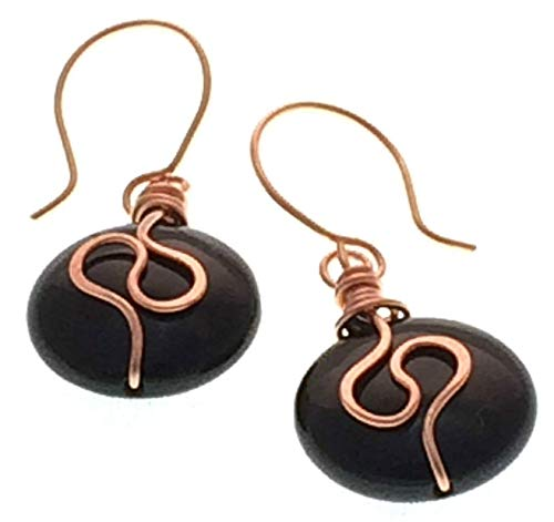 - Black Onyx Copper Wire Wrapped Gemstone Spiral Earrings 1.25 inch