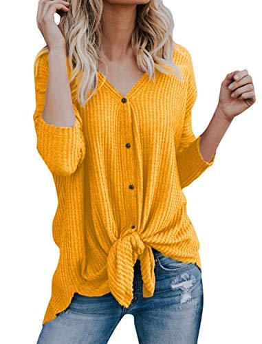V Manches Casual Femme Walant Tunique Sweat Boutons Mode Chauve Chemisier Lache Cardigan Noeud Shirt Souris Tops Blouse Longues Dcontract Irrgulier tricots Chandails Jaune Col HwIxXdfx