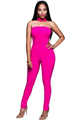 New Frau Pink Trägerlos Choker Jumpsuit Catsuit Strampelanzug Body Clubwear Party Größe S UK 8EU 36