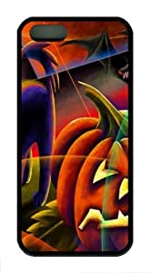 Cats Halloween Evil Artwork Pumpkins TPU Case Cover for iPhone 5 and iPhone 5s Black