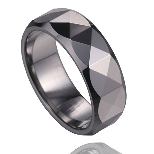 MSK 7mm Polished Multi-faceted Tungsten Carbide Classic Wedding Band Ring Men Women Size 6.5 to 11.5 (8.5)