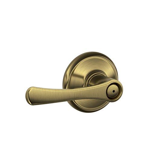 Brass Lockset Antique Privacy (Schlage F40 VLA 609 16-080 10-027 134 N N SL Avila Bed and Bath Lever, Antique Brass)