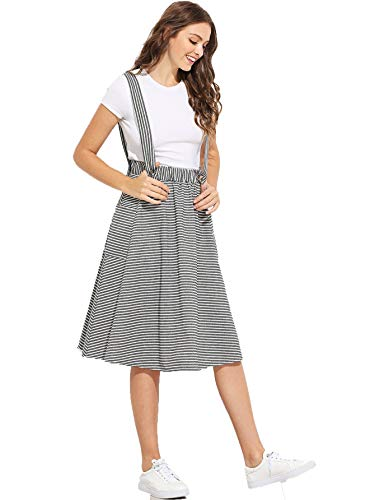 Milumia Women Dual Pocket Side Striped A-line High Waist Preppy Suspender Pinafore Skirt S Black and White