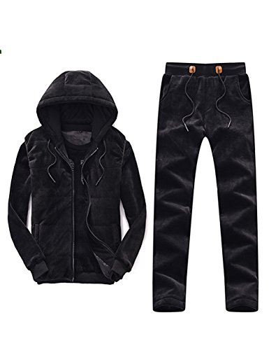 TAPOO Men's Casual Suit Winter Outwear Tracksuit (Vestcoat+clothes+pants) (Medium, Black)