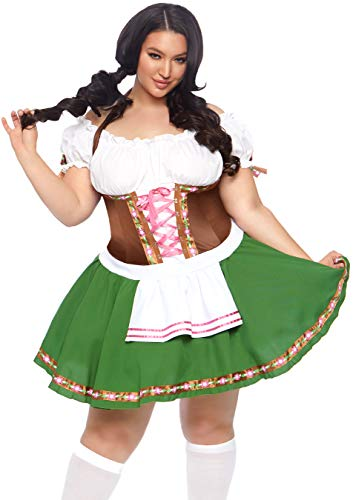 Leg Avenue Women's Plus Size Beer Babe Oktoberfest Costume, Green/brown, 1X / ()