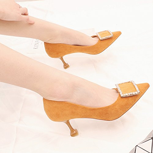 High Cat 5Cm KPHY With 35 The Plush Color Single Light Heeled The Of A Catch In Caramel Fine Female Of To With Tip Shoe 6 Drill Spring The Shoes UrrHPwx