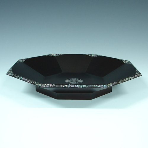 Mother of Pearl Inlay Art Lacquer Finish Bat Design Luxury Handmade Solid Thick Black Wood Octagonal Serving Tea Snack Tray Plate