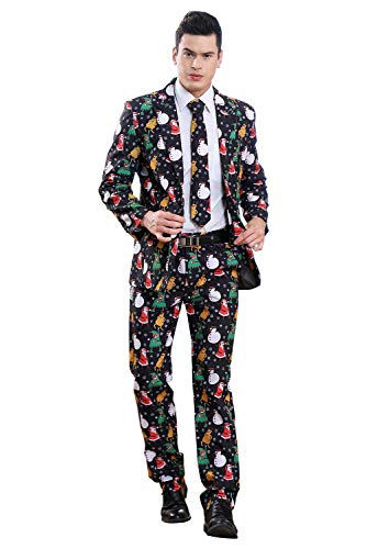 newhui Men's Christmas Santa Claus Printing Suits Tuxedo Pants Jacket with Tie (B, Medium)