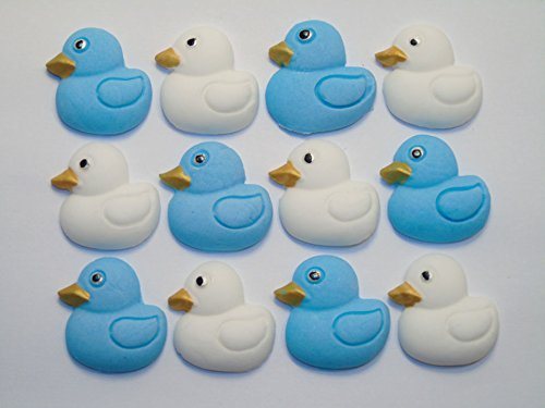 Baby Shower Christening Cake Cupcake Decorations - 12 Blue Baby Ducks Simply Toppers