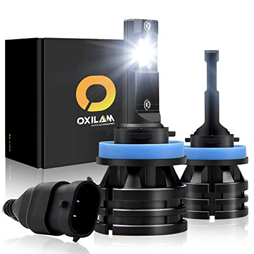 OXILAM H8-H11-LED-Headlight Bulbs [ Mini Size ] 10,000 Lumens Extremely Bright All-in-One Conversion Kit Day Running Light 6000K Cool White-2 Year Warranty (Pack of 2) (H11 Headlight Bulbs)