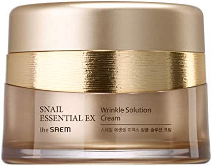 [the SAEM] Snail Essential EX Wrinkle Solution Cream 2.02 fl.oz (60ml) - Contains 50% Snail Extract & Ceramide & Hyaluronic Acid, Skin Repairing and Firming Cream
