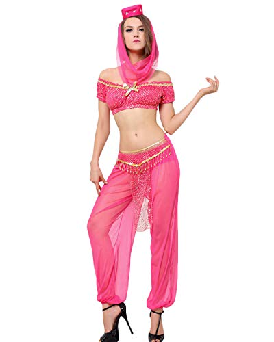 Quesera Women's Princess Jasmine Costume Set Aladdin Arabian Harem Pants Halloween Outfit, Rose Red, Tag Size L=US Size Medium