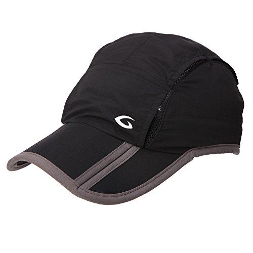 Siggi Mens Quick Dry Mesh Outdoor Baseball Sun Cap Unisex UV SPF 50 Running Hiking Cap Black