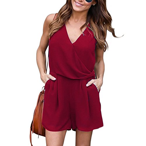 1970's Womens Pant Suit (GINVELL Summer Casual Chiffon Tie Waist Romper Burgundy Jumpsuit for Women M)